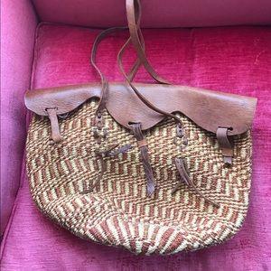 Vintage brown woven leather basket satchel